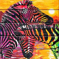 """ФРЕЯ PKW-1 63 Набор для раскрашивания по номерам (по дереву) 40 х 50 см """"Разноцветные полоски"""""""