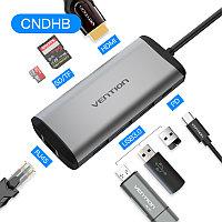 Type-C 8в1 мультифункциональный хаб-конвертор. 1*Ethernet, 1*HDMI, 3*USB 3.0, 2*card reader +PD(87W), фото 1