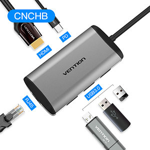 Type C мультифункциональный хаб-конвертор. 1*Ethernet, 1*HDMI, 3*USB 3.0, +PD(87W)