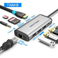 Type C мультифункциональный хаб-конвертор. 1*Ethernet, 1*Audio, 1*HDMI, 3*USB 3.0, 2*card reader +PD(87W), фото 1