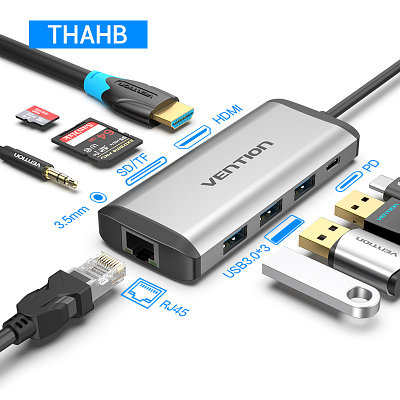 Type C мультифункциональный хаб-конвертор. 1*Ethernet, 1*Audio, 1*HDMI, 3*USB 3.0, 2*card reader +PD(87W)