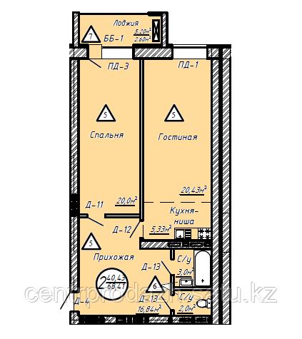 2 комнатная квартира в ЖК Казанат Ривер 68.41 м²
