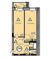 2 комнатная квартира в ЖК Казанат Ривер 68.41 м², фото 1