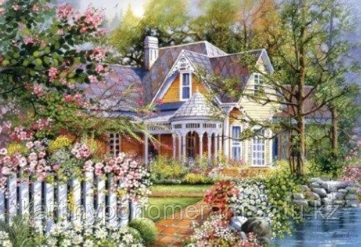 "Картина стразами на подрамнике (40х50 см)""Домик в цветущем саду"" MB-654"