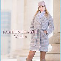 Демисезонное, теплое  пальто из набивной ткани