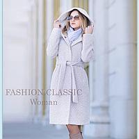 Женское пальто с капюшоном весна осень (цвет светло-серый)
