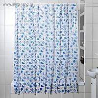 Штора для ванной комнаты «Ракушки», 180×180 см, полиэтилен, цвет белый