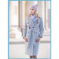 Женское классическое двубортное пальто весна осень (цвет светло-серый)