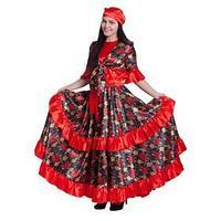 Костюм женский 'Цыганка', блузка, юбка, платок, пояс, р. 44-46, цвет красный