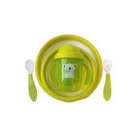Набор детской посуды тарелочки, поильник, столовые приборы, цвет зеленый