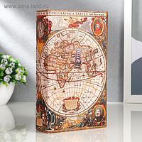 """Сейф-книга дерево """"Морской путь, карта"""" кожзам 21х13х5 см"""