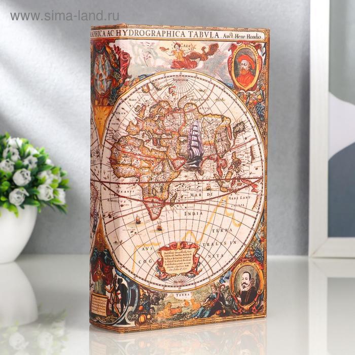 """Сейф-книга дерево """"Морской путь, карта"""" кожзам 21х13х5 см - фото 1"""
