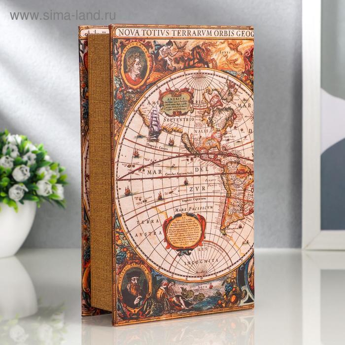 """Сейф-книга дерево """"Морской путь, карта"""" кожзам 21х13х5 см - фото 2"""