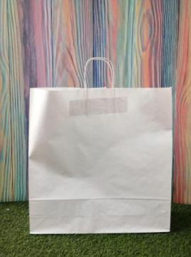 Крафтовый пакет белый с ручкой