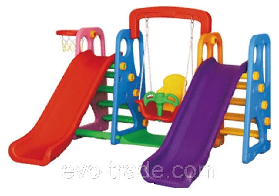 Детский комплекс с двумя горками и качелей QC-05025