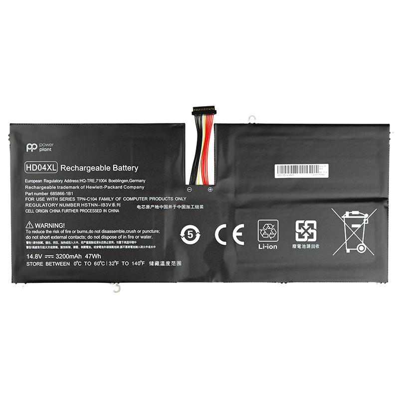 Аккумулятор PowerPlant для ноутбуков HP Envy Spectre XT 13-2120TU (HD04XL) 14.8V 3200mAh