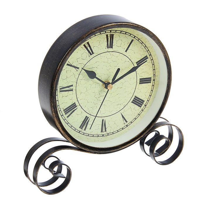 Часы настольные, на витой подставке, циферблат с римскими цифрами, чёрные, d=16 см