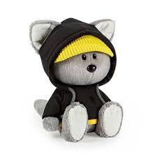 """Мягкая игрушка """"ЛЕсята"""" Волчонок Вока в чёрной толстовке с капюшоном, 15 см"""