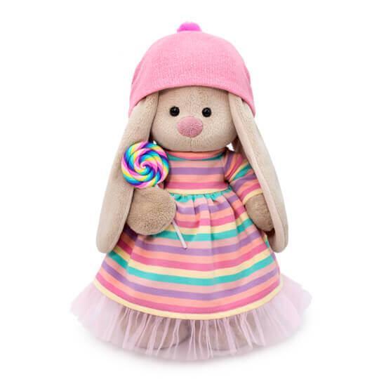 """Мягкая игрушка """"Zaika Mi"""" Зайка Ми в полосатом платье с леденцом (большая)"""