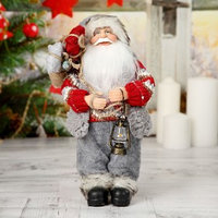 Дед Мороз в вязаном костюме с фонарём 30 см