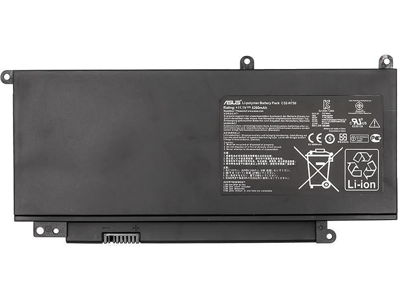 Аккумулятор для ноутбуков ASUS N750 Series (C32-N750) 11.1V 69Wh (original)