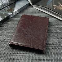 Портмоне мужское 3 в 1 (автопаспорт), 4 отдела, для карт, для монет, цвет коричневый