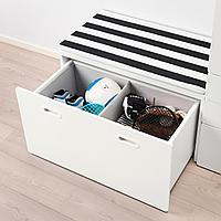 Гардероб и скамья с ящиком, белый, белый, 150x50x192 см