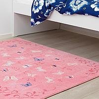 Ковер, короткий ворс, бабочка, розовый, 133x160 см