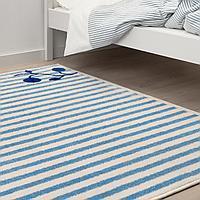 Ковер, в полоску синий, белый, 133x160 см