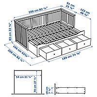 Каркас кровати-кушетки с 3 ящиками, черно-коричневый, 80x200 см