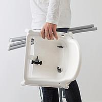 Высок стульчик с ремн безопасн, белый, серебристый