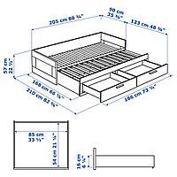 Кушетка с 2 матрасами/2 ящиками, черный, Мосхульт жесткий, 80x200 см