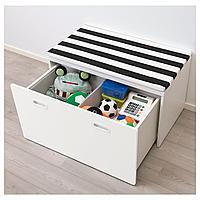 Скамья с отделением для игрушек, белый, белый, 90x50x50 см