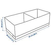 Ящик с отделениями, белый/серый, 20x51x18 см