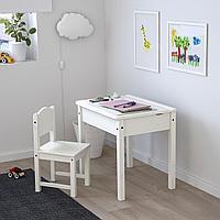 Стол с отделением для хранения, белый, 60x45 см