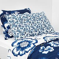 Подушка, цветок, синий белый, 65x40 см