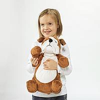 Мягкая игрушка, бульдог коричневый, белый
