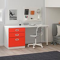 Кровать-чердак/3 ящика/2 дверцы, белый, красный, 207x99x182 см