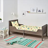 Раздвижная кровать с реечным дном, серо-коричневый, 80x200 см