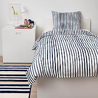Пододеяльник и 1 наволочка, в полоску, синий белый, 150x200/50x70 см