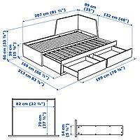 Кушетка с 2 матрасами/2 ящиками, белый, Хусвика жесткий, 80x200 см