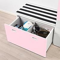 Гардероб и скамья с ящиком, белый, светло-розовый, 150x50x192 см