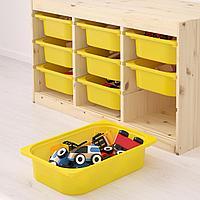 Комбинация д/хранения+контейнеры, светлая беленая сосна, желтый, 94x44x52 см