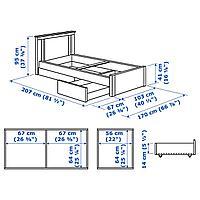 Каркас кровати с 2 ящиками, белый, 90x200 см