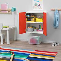 Навесной шкаф, белый, красный, 60x30x64 см