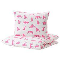 Пододеяльник и 1 наволочка, тигр, розовый, 150x200/50x70 см