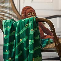 Одеяло детское, крокодил, зеленый, 80x100 см