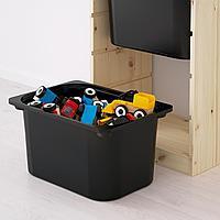 Комбинация д/хранения+контейнеры, светлая беленая сосна белый, черный, 44x30x91 см