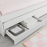 Выдвижная кровать с ящиком, белый, 90x200 см