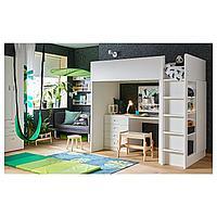 Кровать-чердак/4 ящика/2 дверцы, белый, белый, 207x99x182 см